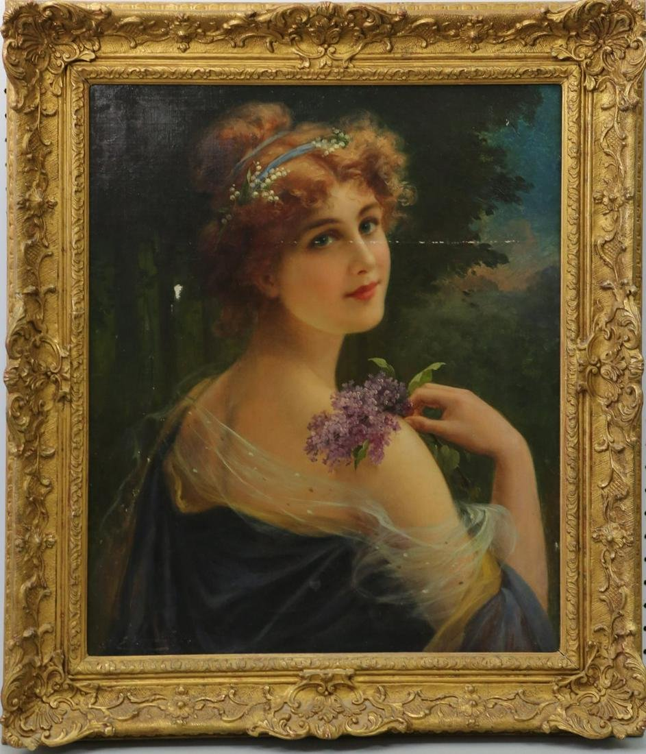 EMILE VERNON 'GIRL w LILACS' OIL PAINTING / CANVAS