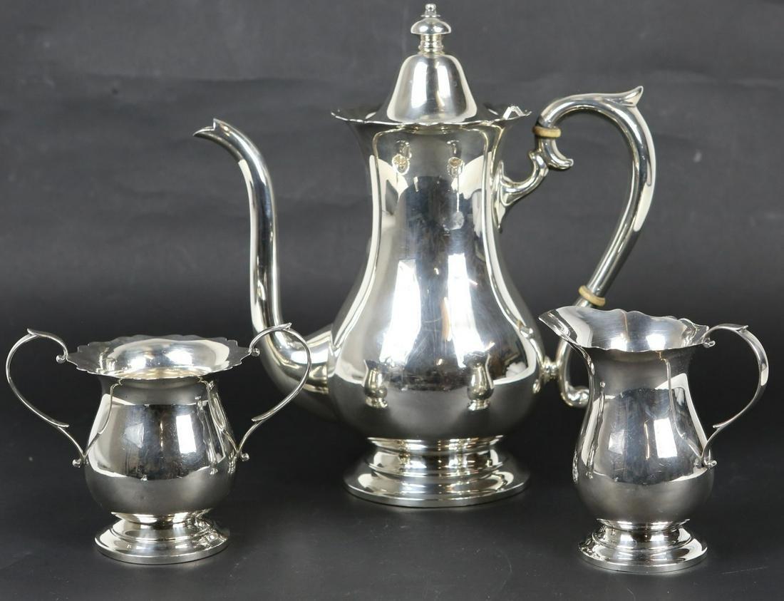3pc BLACK STARR & FROST GORHAM STERLING TEA SET