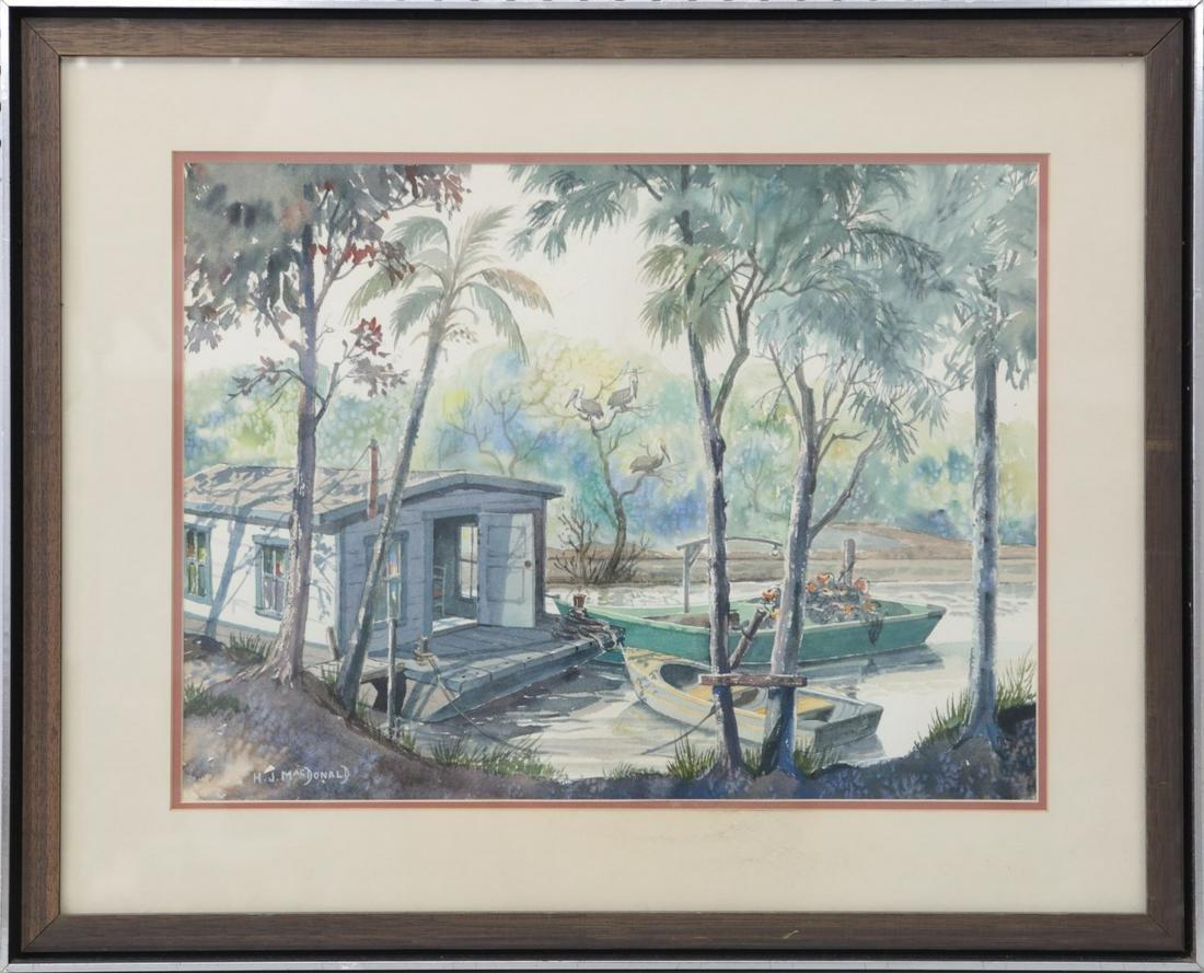 H.J. MACDONALD FLORIDA SCHOOL WATERCOLOR ON PAPER
