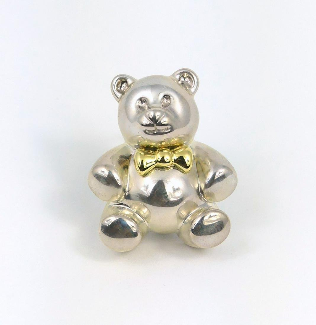 TIFFANY & CO STERLING SILVER TEDDY BEAR w 18kt BOW