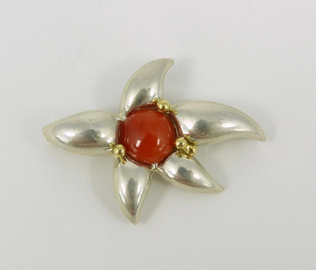 TIFFANY & CO STERLING 18kt CORAL STARFISH BROOCH