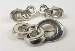 3pc TIFFANY & CO STERLING CIRCLE BROOCH & EARRINGS