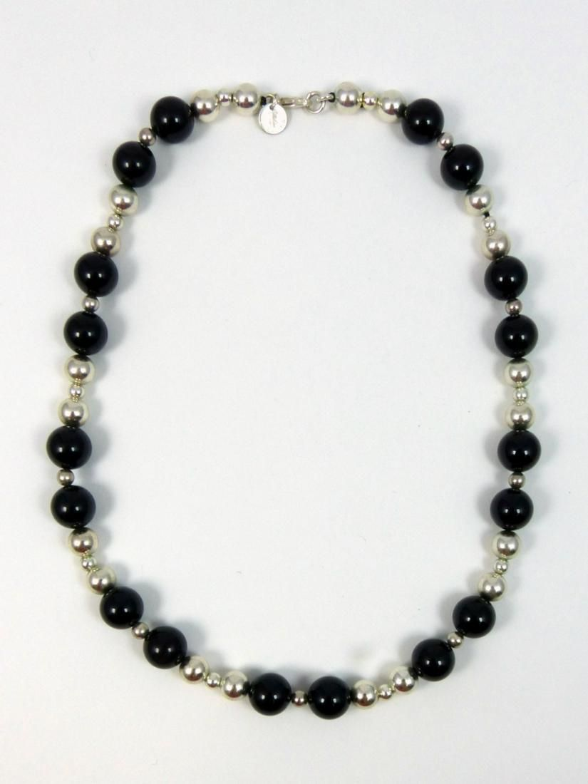 TIFFANY ONYX & STERLING SILVER BEADED NECKLACE