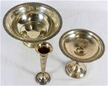 3pc STERLING SILVER BOWL, COMPOTE & VASE WEIGHTED