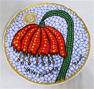 YAYOI KUSAMA 'RED FLOWER' CERAMIC PLATE