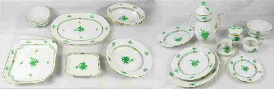 45pc HEREND CHINESE BOUQUET GREEN PORCELAIN