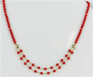 14kt YELLOW GOLD & RED CORAL BEADED NECKLACE