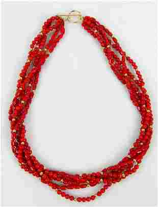14kt YELLOW GOLD & RED CORAL 5-STRAND NECKLACE
