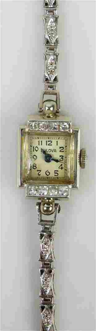 BULOVA 14kt WHITE GOLD & DIAMOND LADIES WATCH