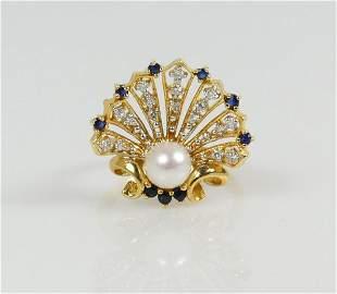 14kt YELLOW GOLD DIAMOND SAPPHIRE & PEARL RING