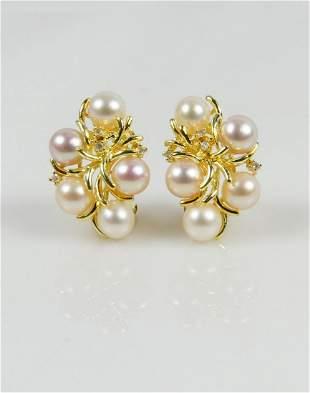 PR 14kt YELLOW GOLD PEARL & DIAMOND EARRINGS