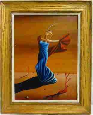 JORGE NOCEDA SANCHEZ 'FIGURE IN BLUE' OIL / CANVAS