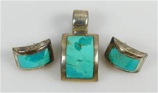 3pc MEXICAN STERLING SILVER & TURQUOISE SUITE