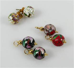 6pc 14kt YELLOW GOLD CLOISONNE BEADS SUITE
