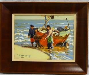 WILLIAM MOREIRA CRUZ 'FISHING BOAT' OIL ON BOARD