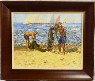 WILLIAM MOREIRA CRUZ 'FISHERMEN' OIL ON BOARD