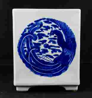 CHINESE BLUE AND WHITE PORCELAIN SQUARE PLANTER