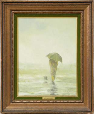 GILLES GINGRAS 'FIGURE w DOG' OIL ON CANVAS