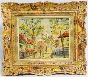 FRENCH STREET SCENE CATHREDAL OIL / CANVAS SIGNED