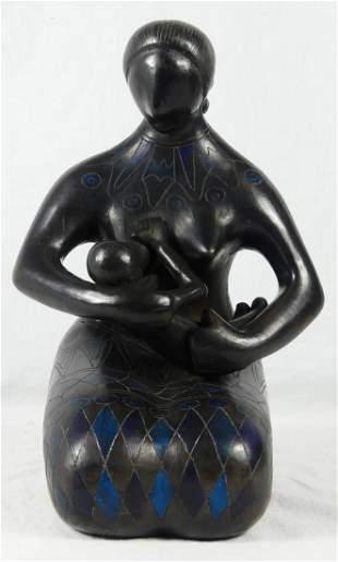 BLACKWARE CERAMIC MOTHER & CHILD SCULPTURE