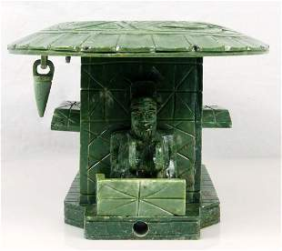 CHINESE CARVED GREEN HARDSTONE ALTAR