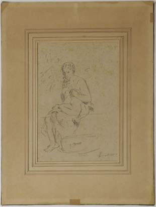 MANNER OF EDOUARD MANET PENCIL SKETCH ON PAPER