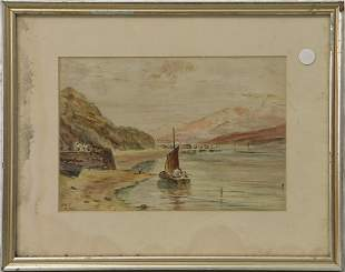 WATERCOLOR PAINTING 'BEACH SCENE w BOAT' SIGNED