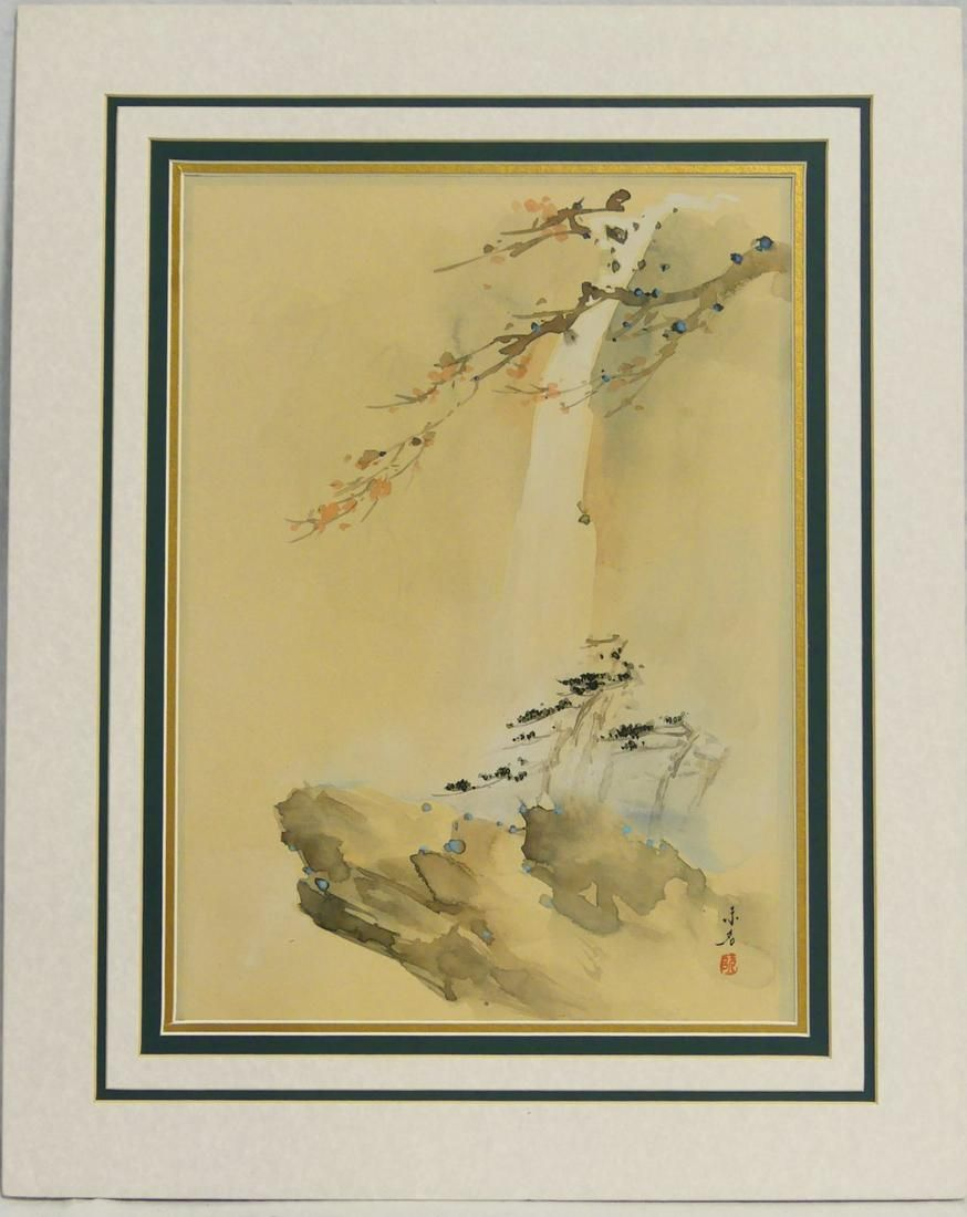 CHINESE WATERCOLOR ON PAPER OF WATERFALL