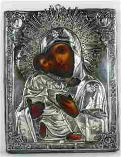 ANTIQUE RUSSIAN 84 SILVER ICON 'MOTHER & CHILD'