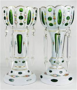 PR BOHEMIAN WHITE TO EMERALD GLASS LUSTERS