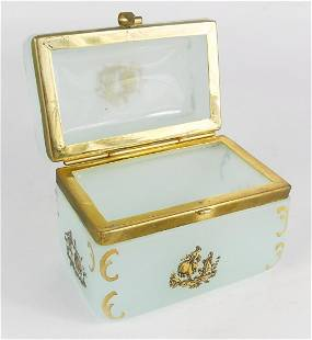 FRENCH BRASS MOUNTED OPALINE GLASS BOX