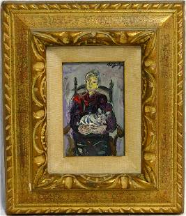 WALTER SPITZER 'GRANDMOTHER w CAT' OIL ON CANVAS