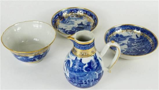 4pc SALOPIAN CAUGHLEY BLUE WHITE & GILT PORCELAIN