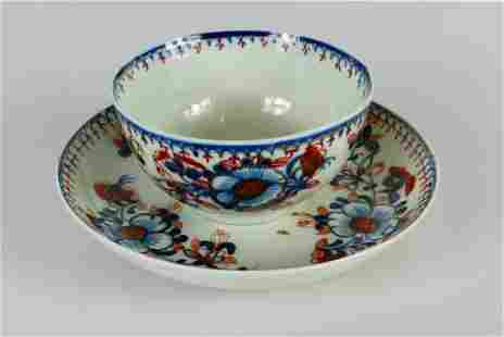 2pc DR WALL WORCESTER BLUE WHITE RED & GILT CUP +