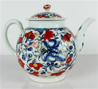 DR WALL WORCESTER BLUE WHITE IRON RED GILT TEAPOT