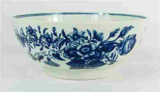 WALL WORCESTER BLUE & WHITE PORCELAIN BOWL 7in