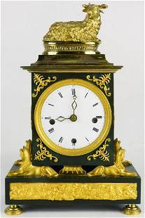 FRENCH GILT BRONZE MANTLE CLOCK w RAM & SPHINXES