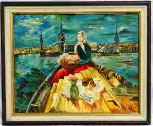 CONTINENTAL SCHOOL 'WOMAN IN BOAT' OIL PAINTING