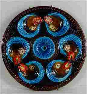 FRENCH MAJOLICA FISH HEAD OYSTER PLATE