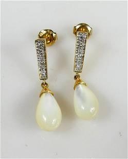 PR 14K YELLOW GOLD PEARL & DIAMOND DROP EARRINGS