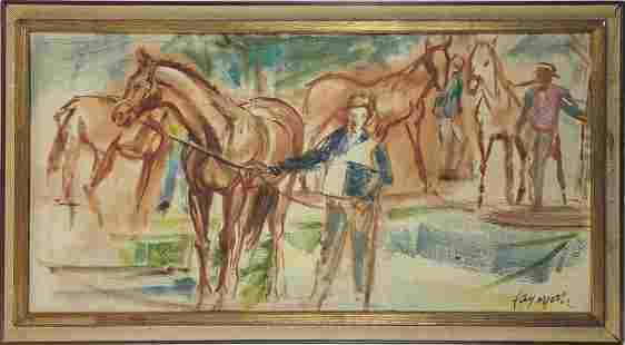 FAY MOORE 'HORSES' OIL PAINTING ON CANVAS