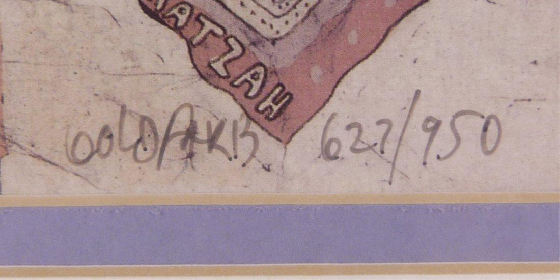 """HEBREW SCENE LITHOGRAPH BY BATIK ARTIST """"GOLDFARB"""" - 3"""