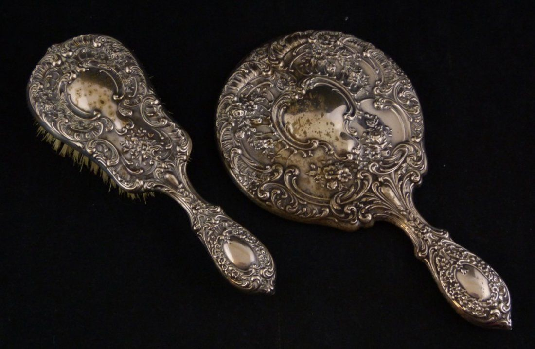 19th. C GORHAM STERLING SILVER REPOUSSE VANITY SET