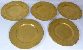 Five Hutschenreuther Selb German Gold Gilt Plates