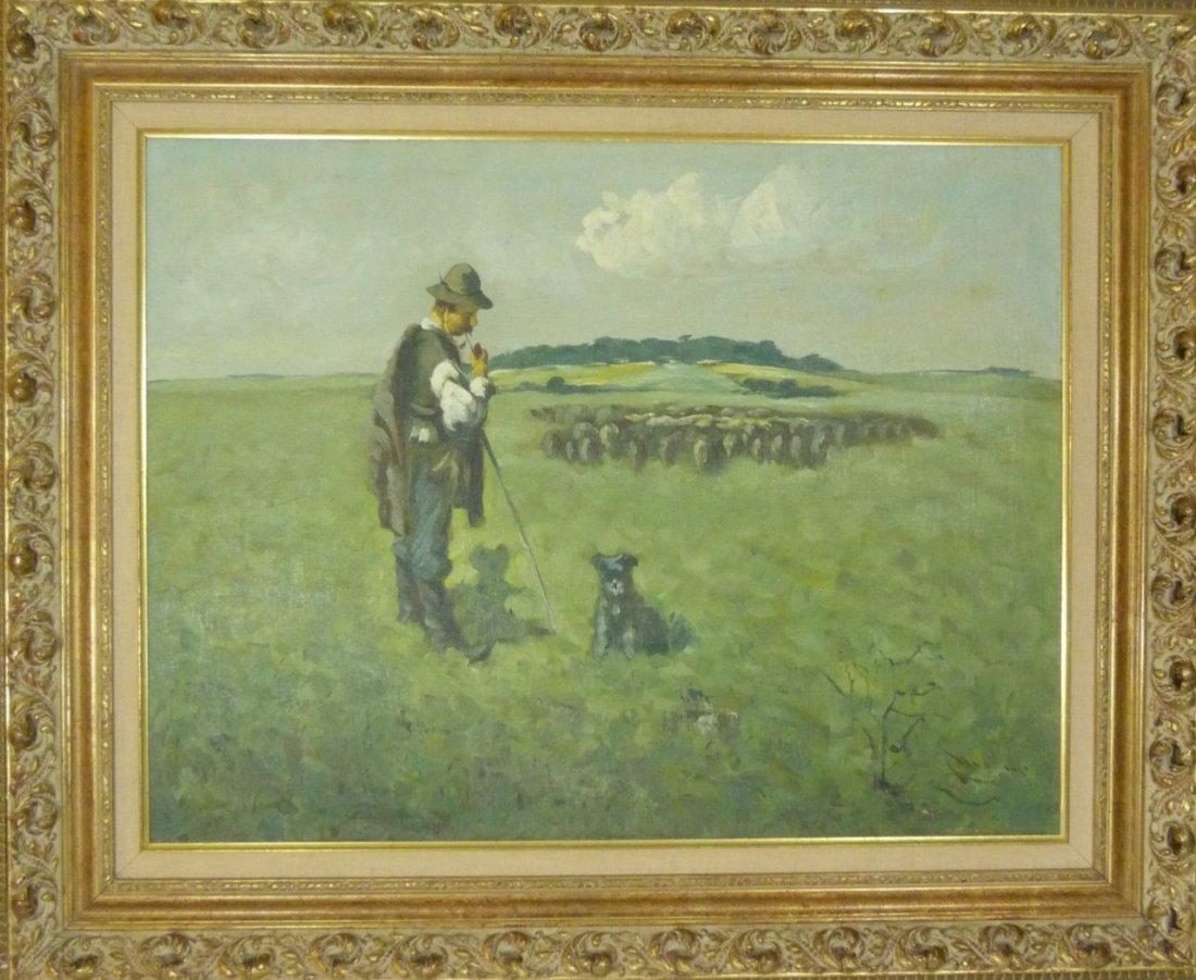 DUTCH SCHOOL OIL PAINTING OF SHEEP HERDER