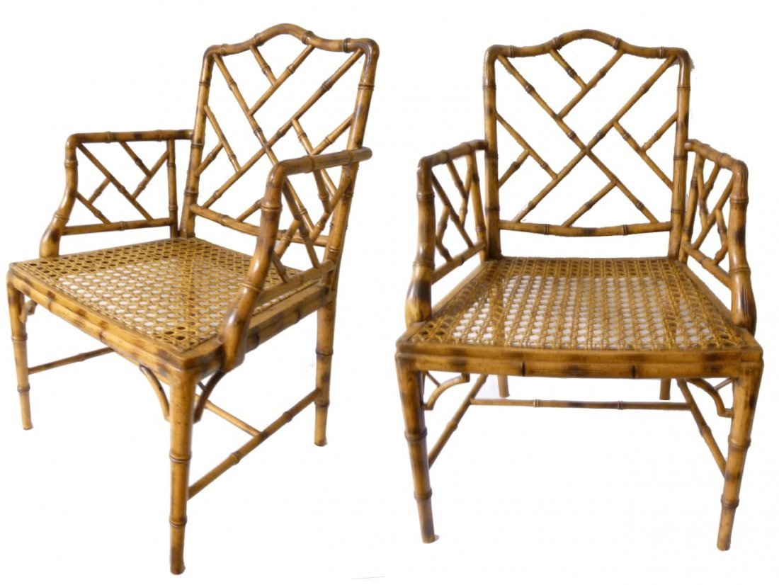 PAIR HOLLYWOOD REGENCY CHINESE CHIPPENDALE CHAIRS