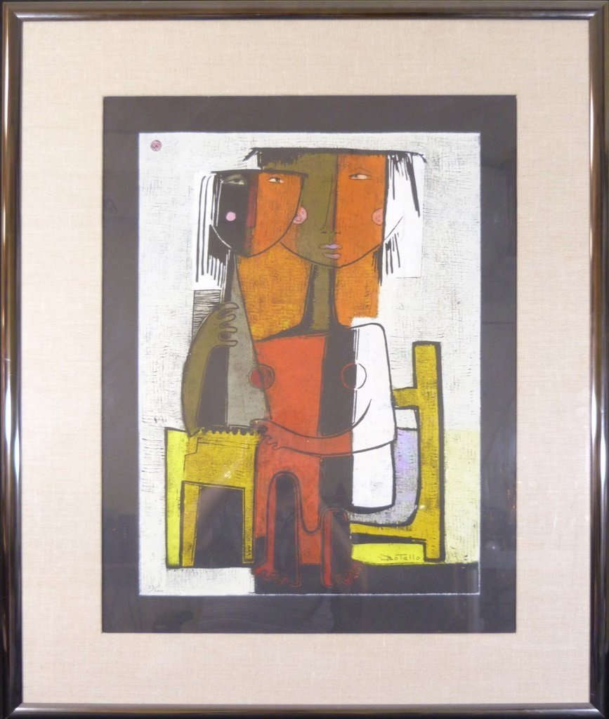 ANGEL BOTELLO COLOR LINOCUT SIGNED & NUMBERED 33/100