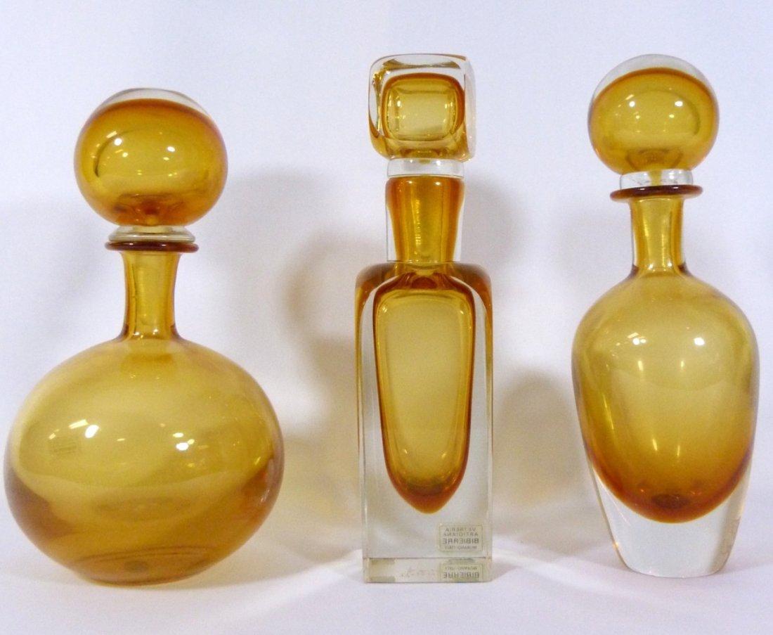 THREE BIBIERRE MURANO LARGE GLASS VANITY DECANTERS