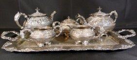 Meriden Antique Repousse Silverplate Tea Set