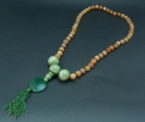 Large Chinese Agate & Jade Beaded Prayer Necklace